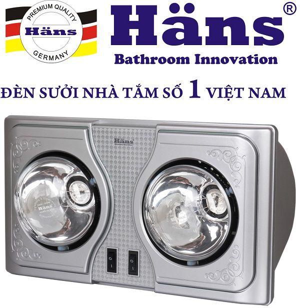 Đèn sưởi nhà tắm Hans 2 bóng H2B - Đức