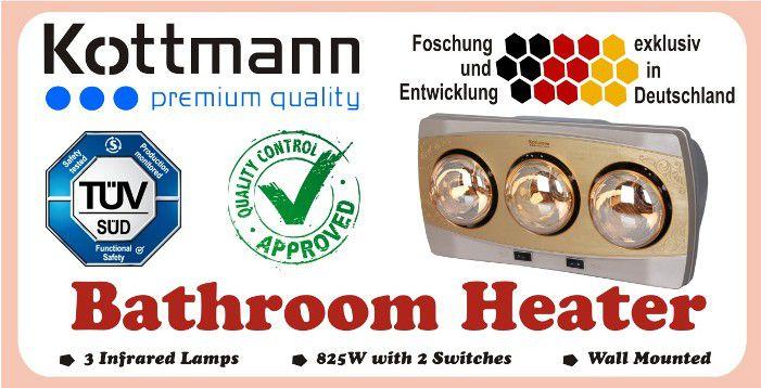 Đèn sưởi nhà tắm Kottmann 3 Bóng K3B - Đức