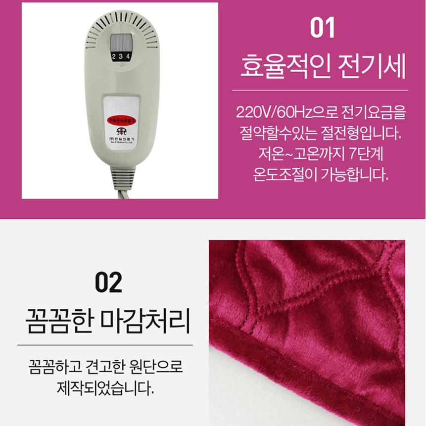 Chăn điện Hanil có 7 chế độ điều chỉnh nhiệt