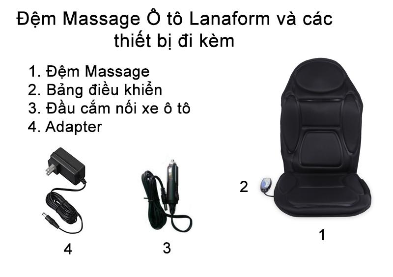 Đệm massage ô tô Lanaform LA110304 Nhập khẩu Bỉ